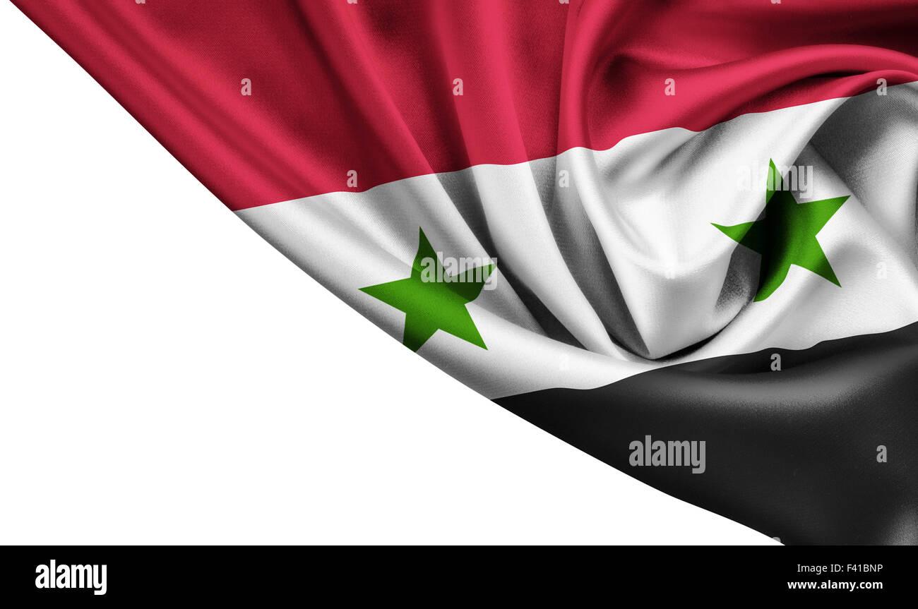 Syria waving silk flag isolated on white - Stock Image