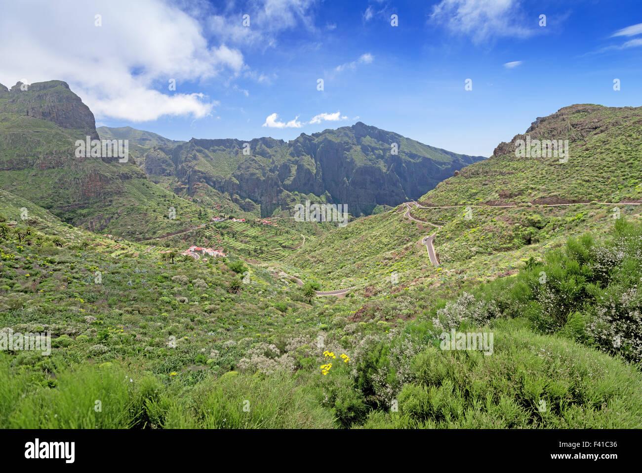 Road at mountains of Majorka Spain panoramic - Stock Image