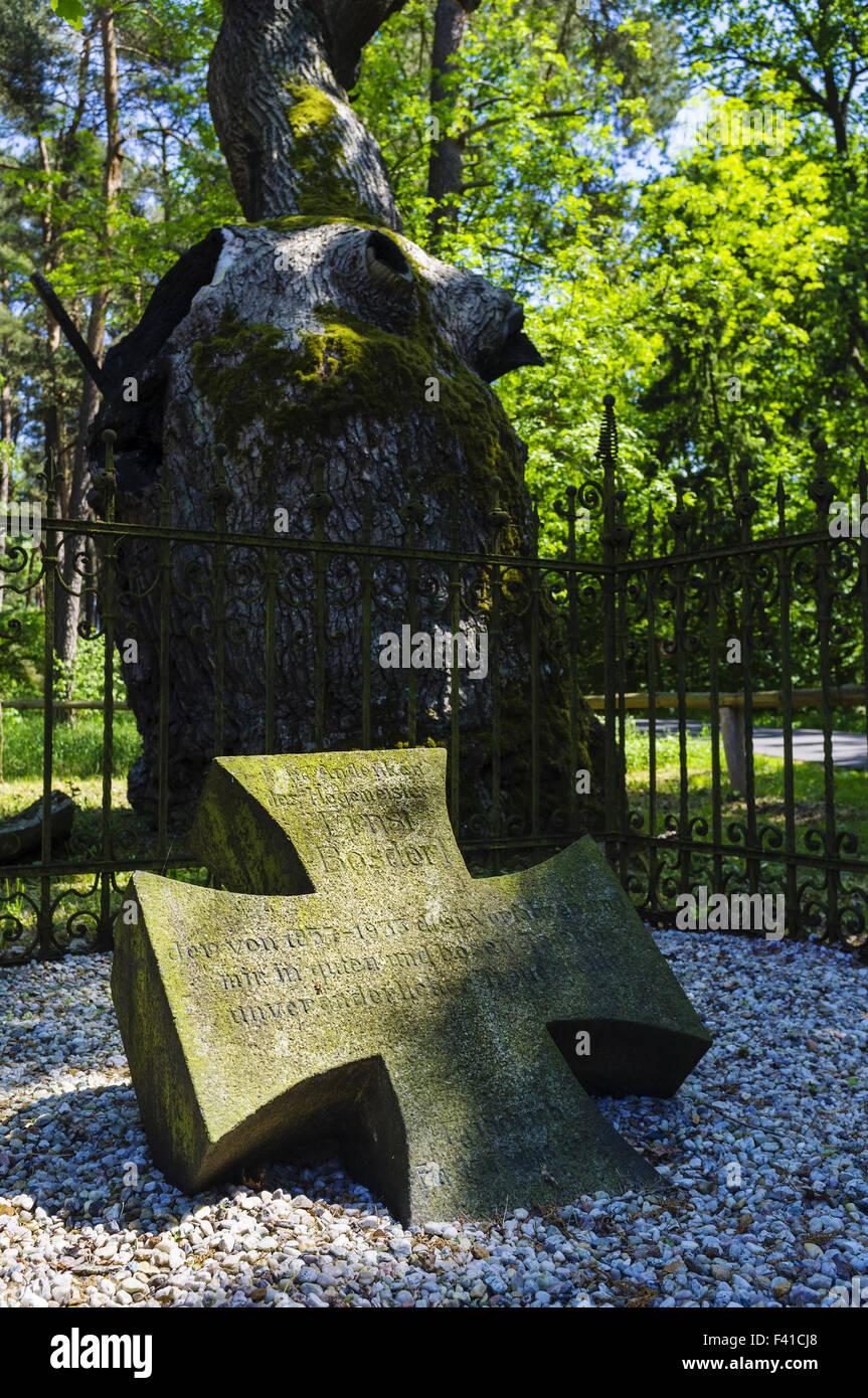 Memorial stone at Bosdorf Oak - Stock Image