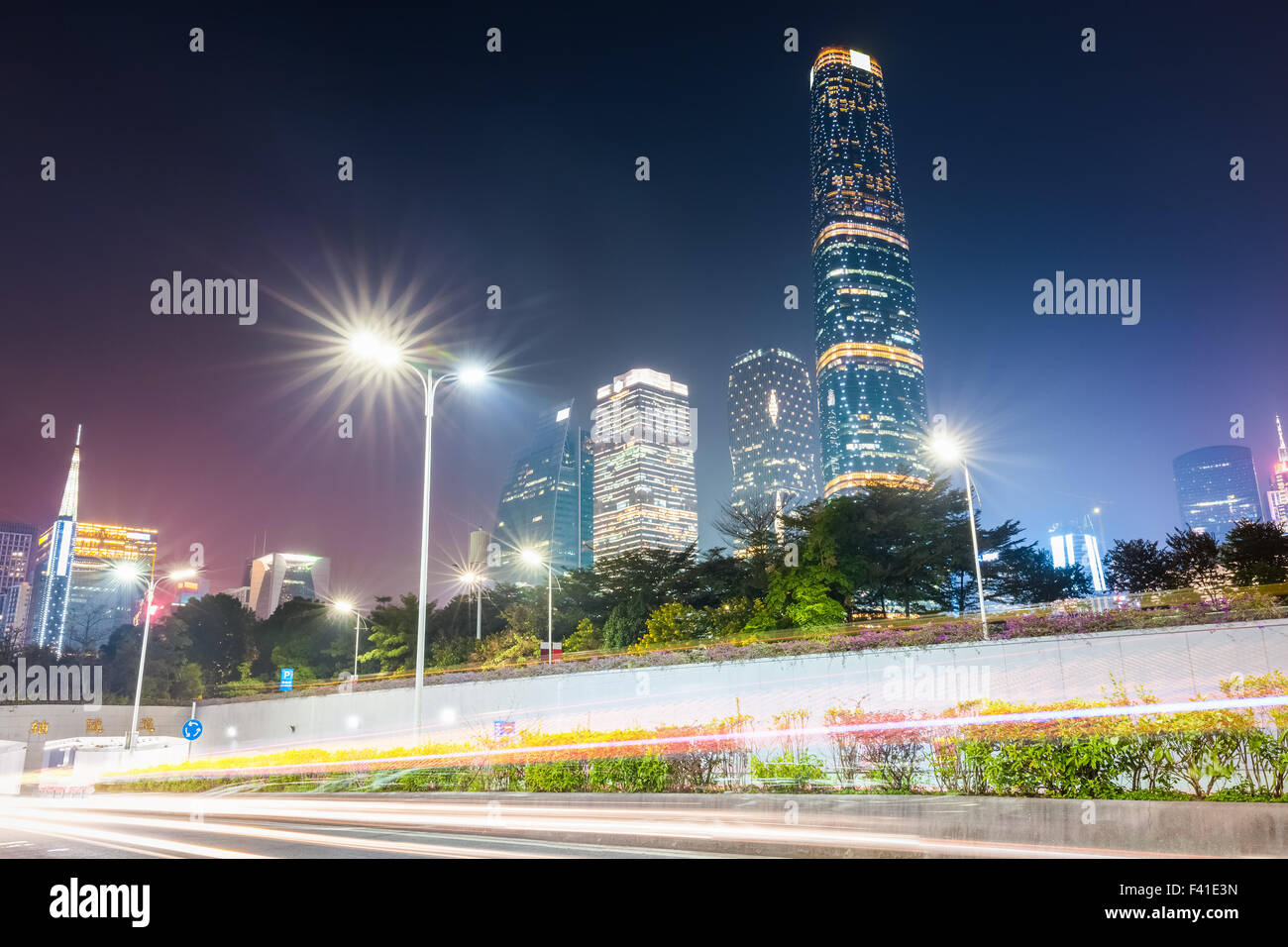 pearl river new town at night - Stock Image