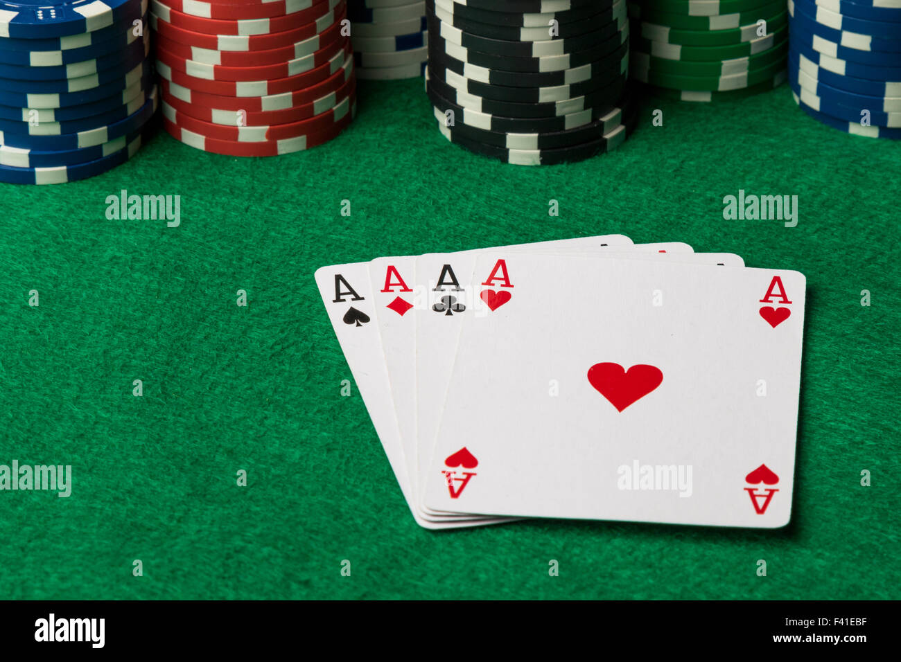 four of a kind poker hand Aces - Stock Image