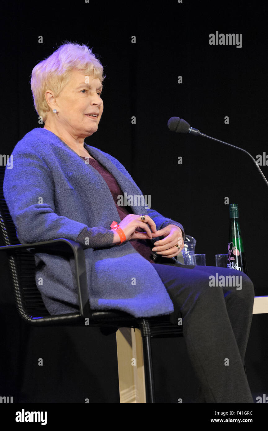 Ruth Rendell, author of thrillers and psychological murder at the Cheltenham Literature Festival, 2014 - Stock Image