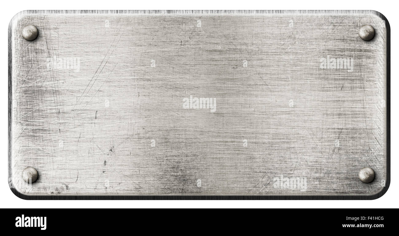 Grunge Steel Metal Plate With Rivets Isolated Stock Photo