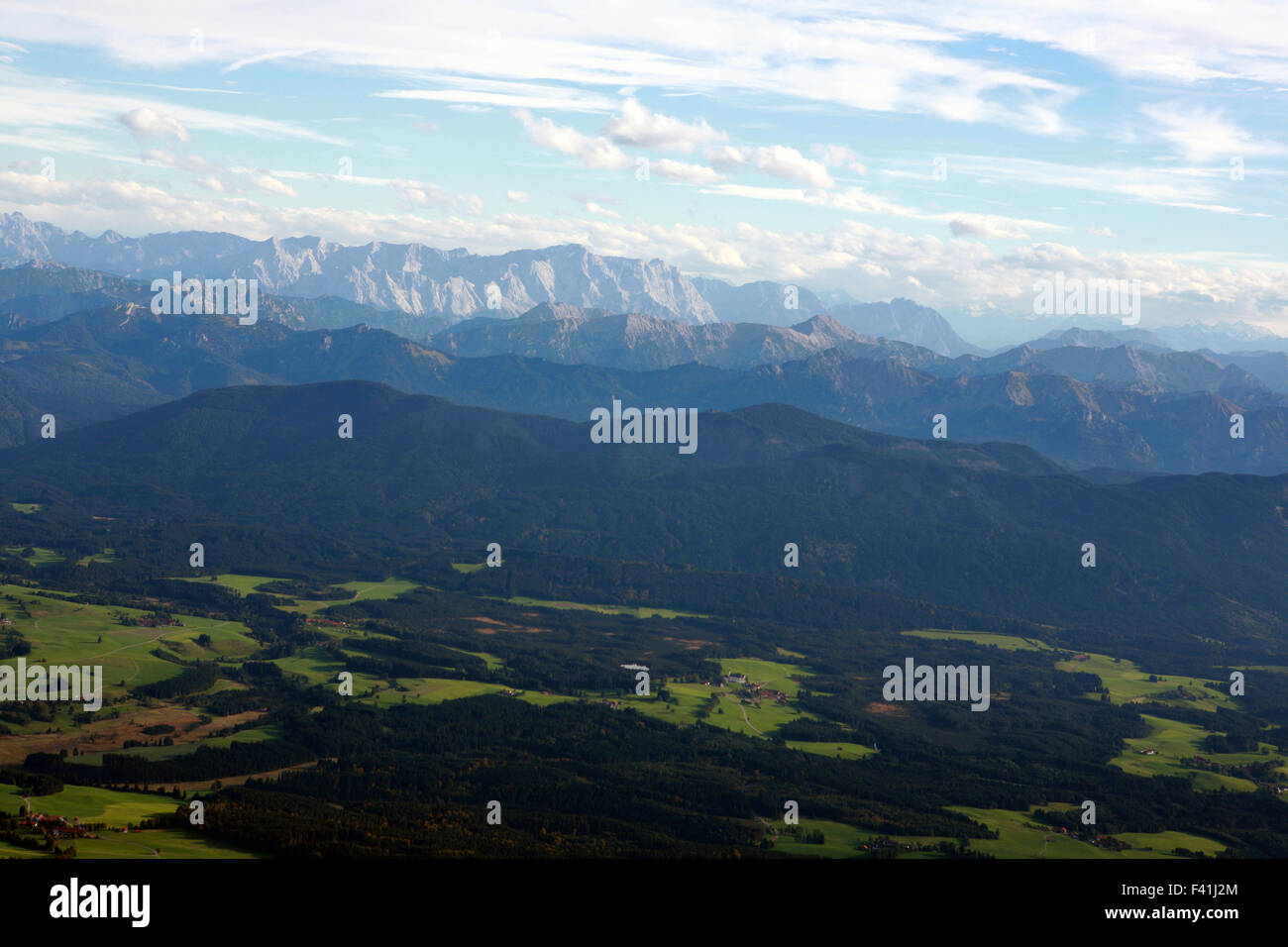 View from Allgäu to the Alps - Stock Image