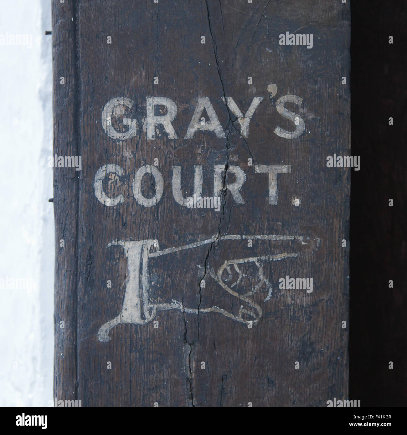 Grays Court Hotel in York entrance sign - Stock Image