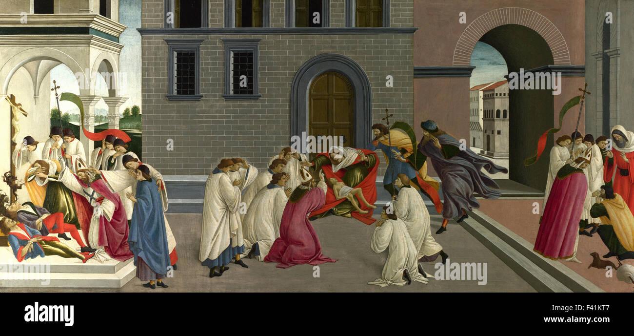 Sandro Botticelli - Three Miracles of Saint Zenobius - Stock Image