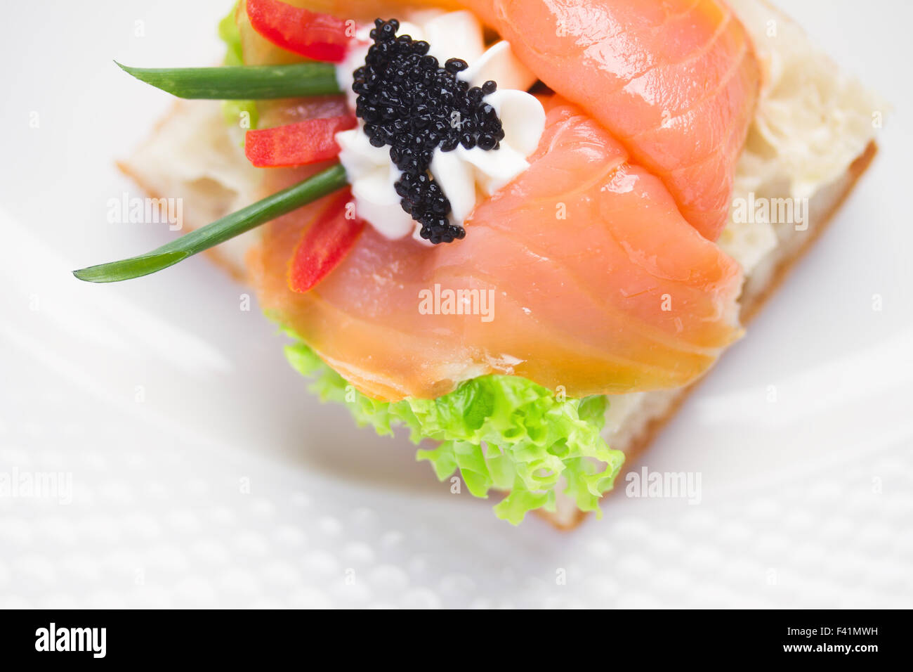 Sandwiche with  salted salmon - Stock Image