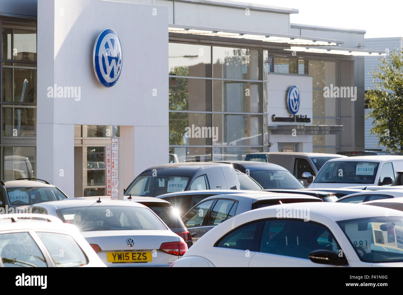 vw volkswagen VAG dealership dealerships garage showroom showrooms show room rooms franchised dealer dealers car - Stock Image