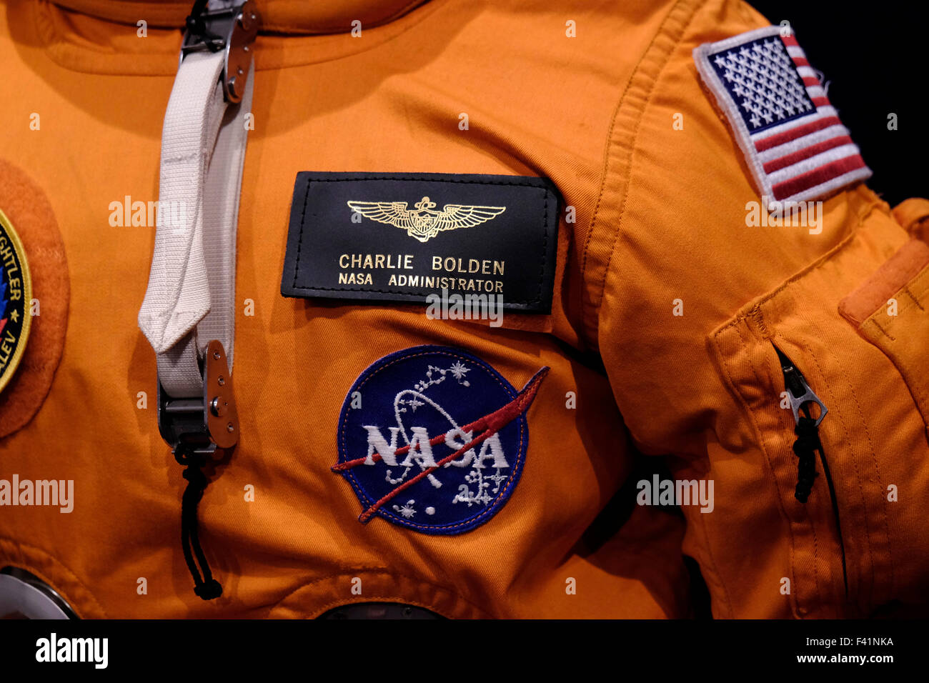 Astronaut spacesuit of Charlie Bolden the current Administrator of NASA and former NASA astronaut. - Stock Image