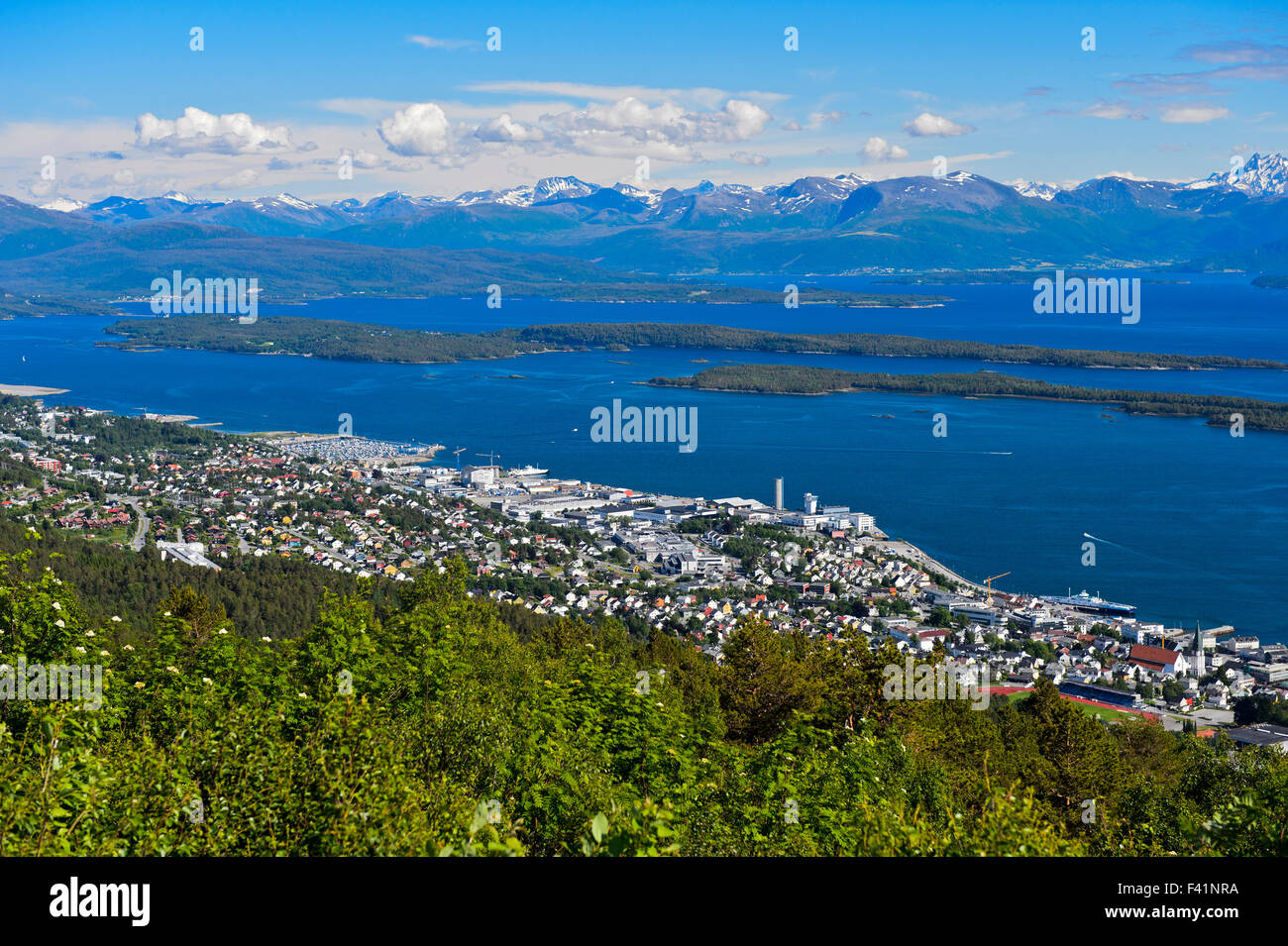 View of Molde on Moldefjord shore, Møre og Romsdal province, Norway - Stock Image