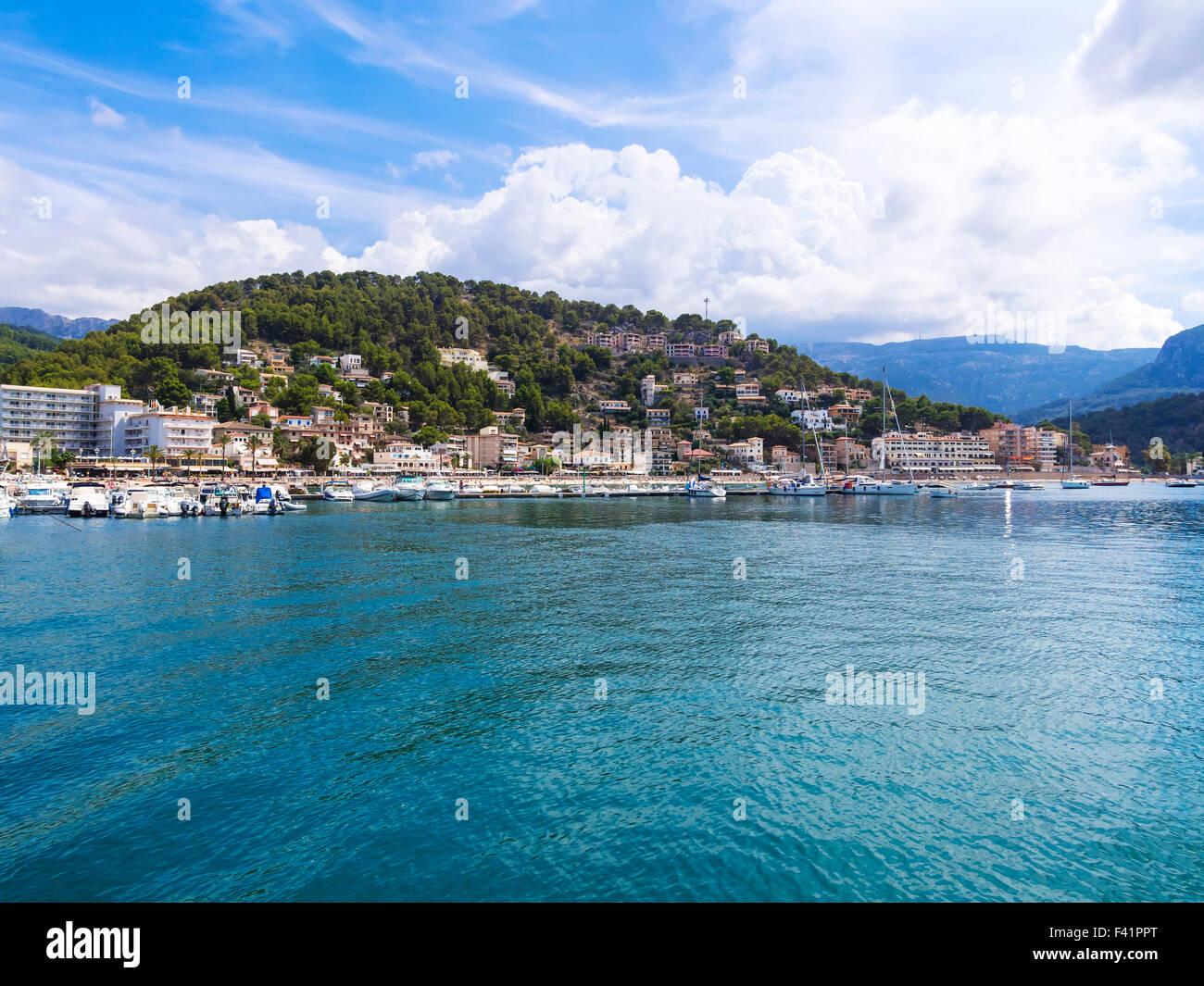 View of Port de Soller marina, Soller, Mallorca, Balearic Islands, Spain - Stock Image
