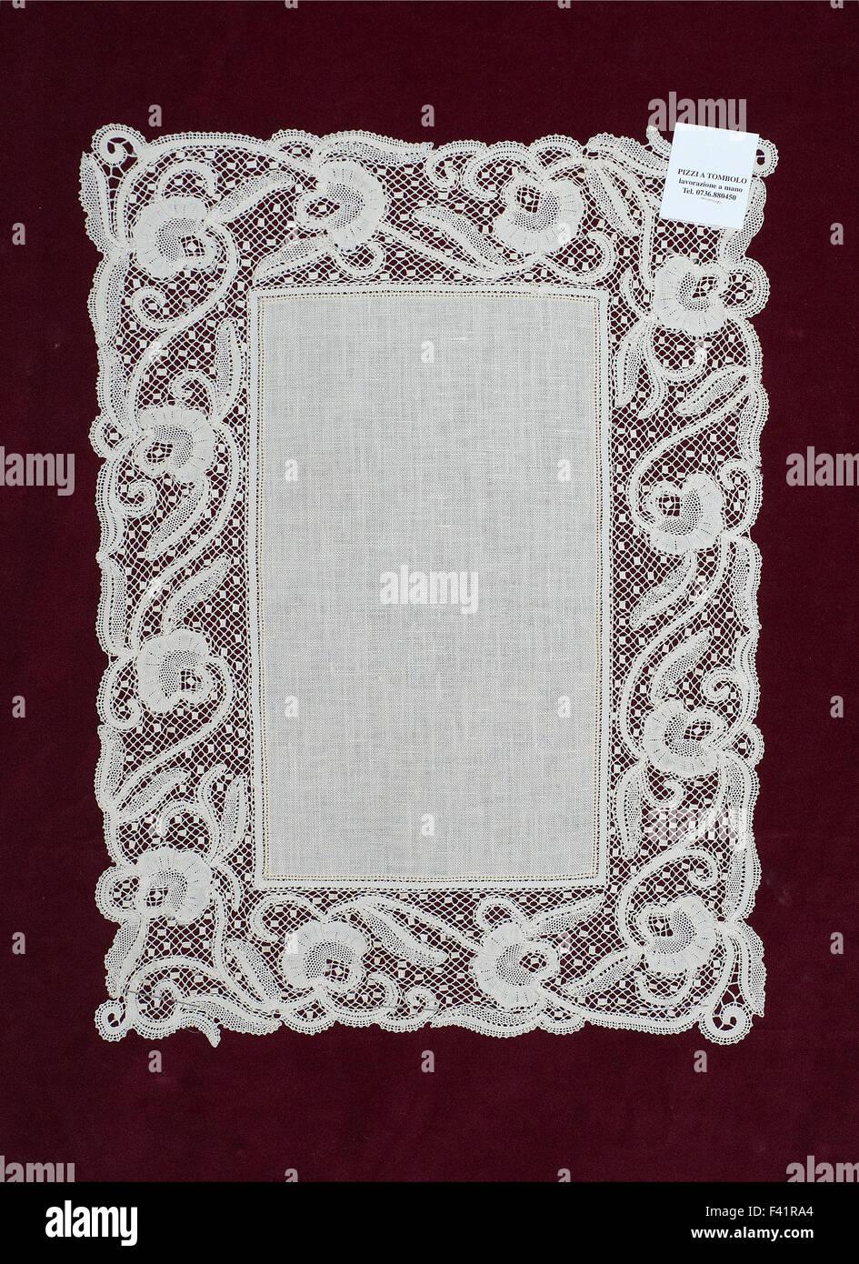 Bobbin lace, embroidery, Marche, Italy - Stock Image