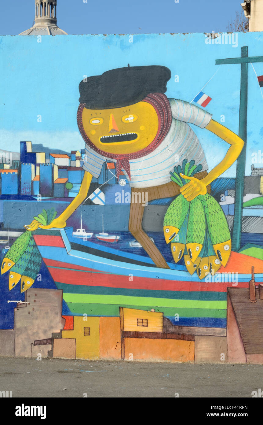 Wall Painting of a Marseille Fisherman or Fisher in the Panier District or Old Town of Marseille or Marseilles Provence - Stock Image
