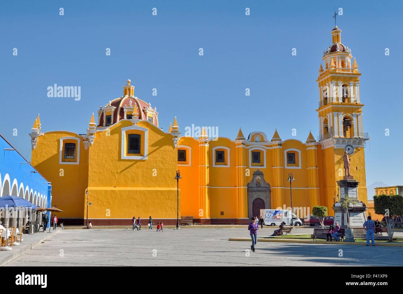 San Pedro Apostle church, Zocalo, Cholula, Puebla, Mexico - Stock Image