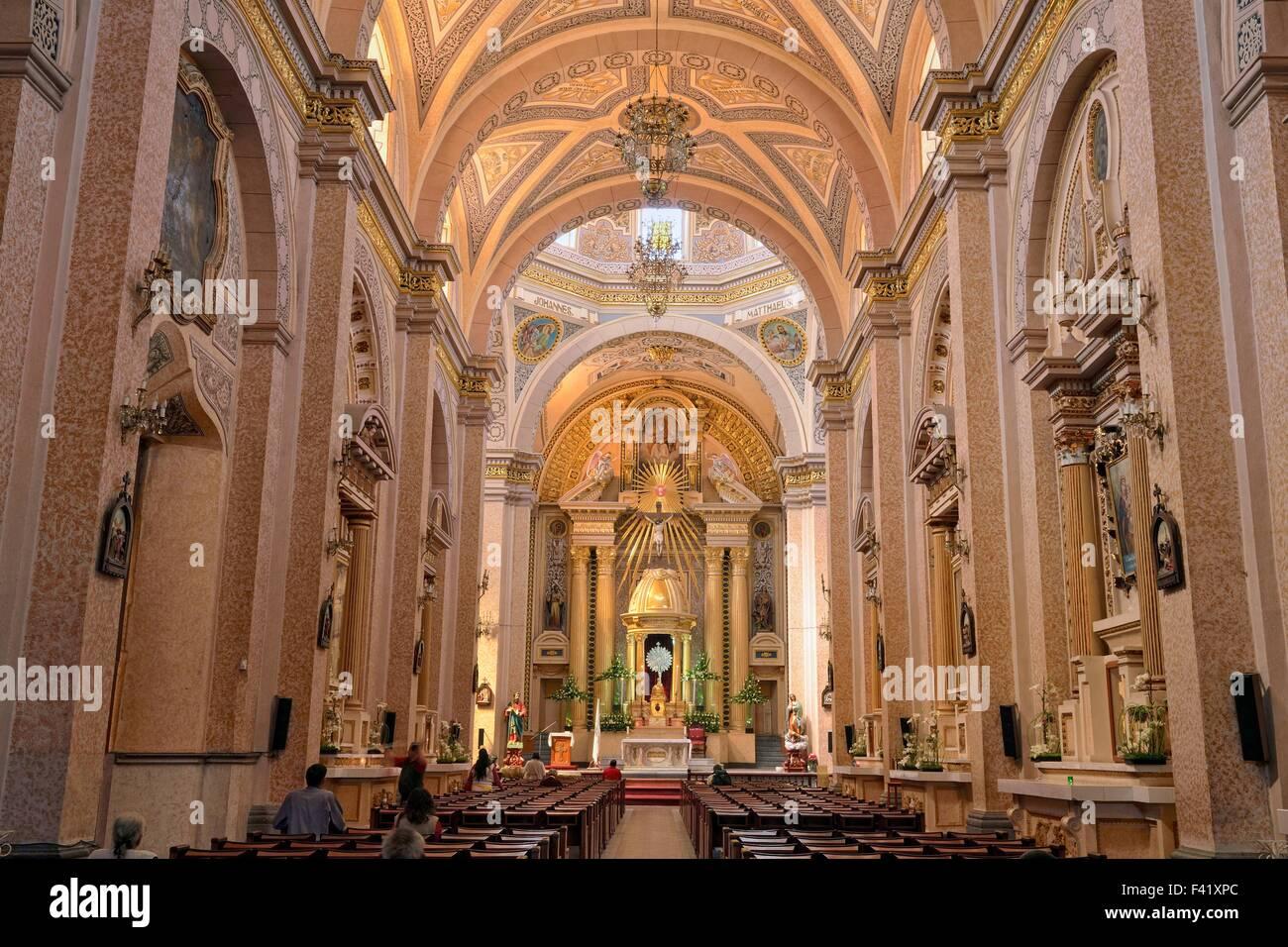 San Pedro Apostle church, interior, Cholula, Puebla, Mexico - Stock Image