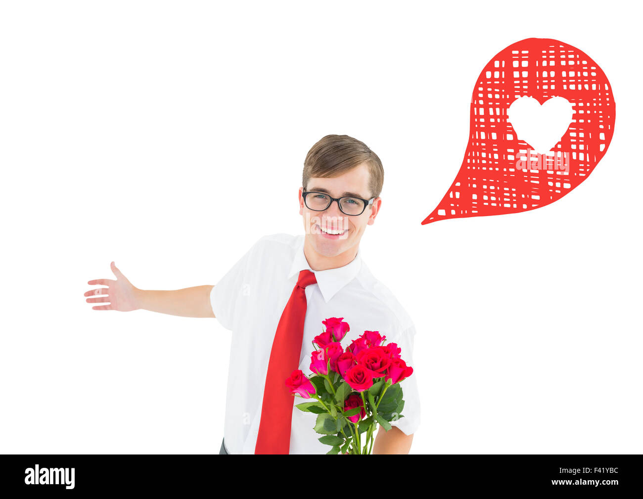 Composite image of romantic geeky hipster - Stock Image