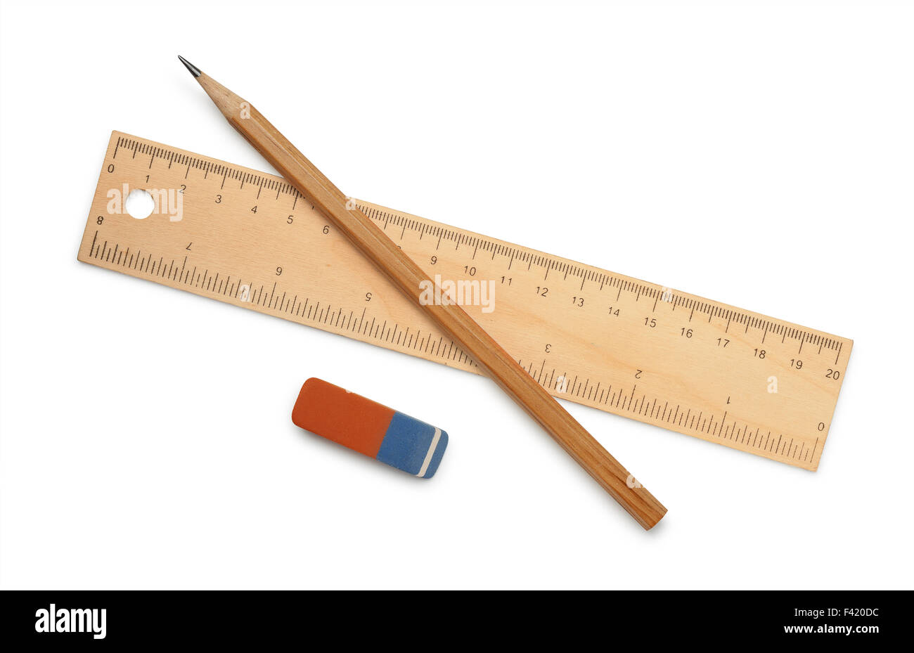 Ruler, pencil and eraser isolated on white - Stock Image