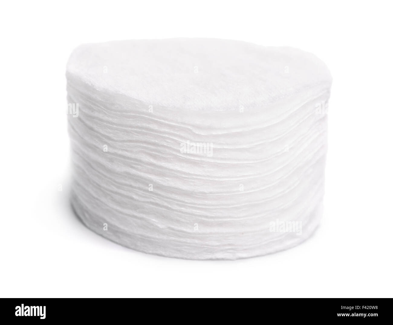 Cotton disks isolated on white - Stock Image