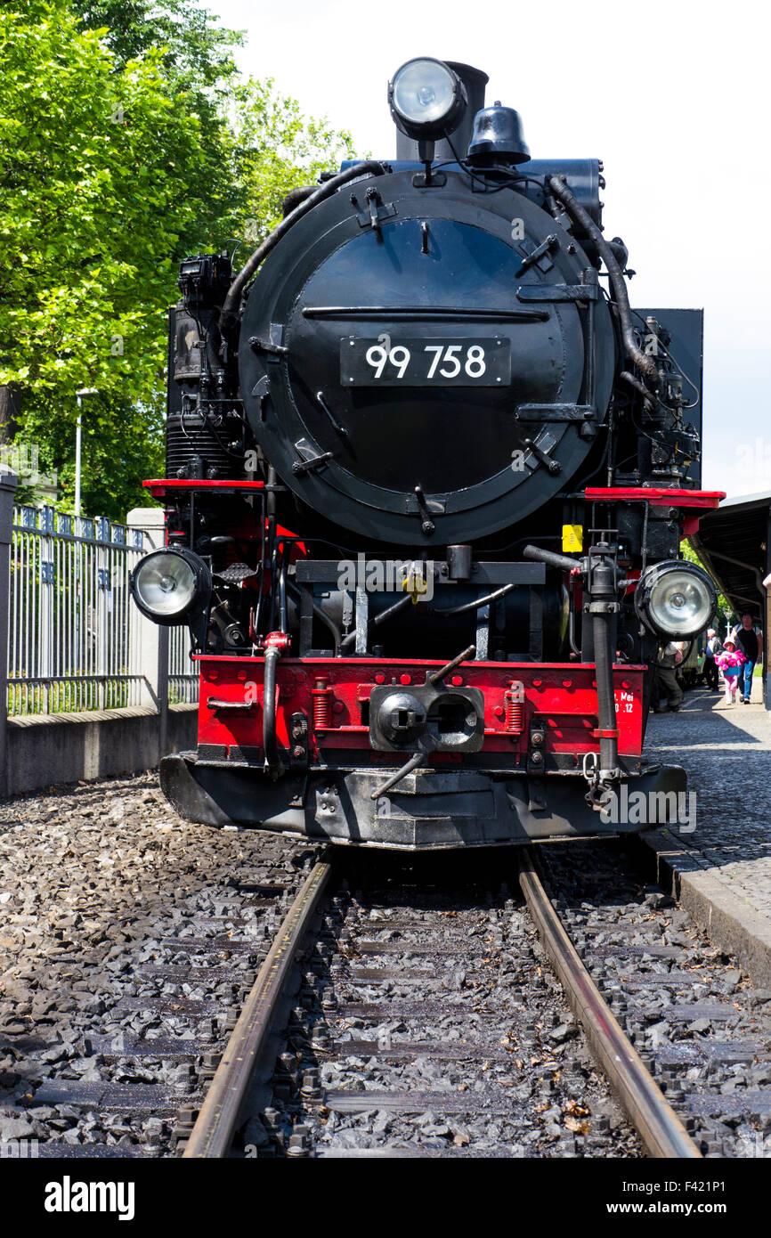 Steam train on the Zittau Railway,Saxony ,Germany. Stock Photo