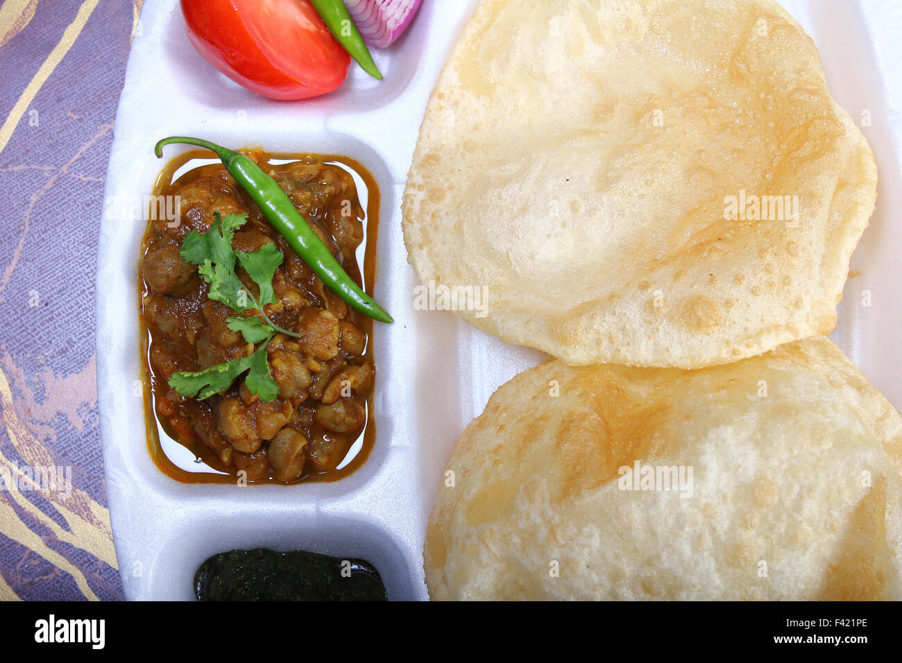 spicy chole bhature - Stock Image