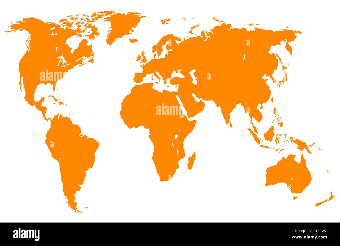 orange world map, isolated - Stock Image