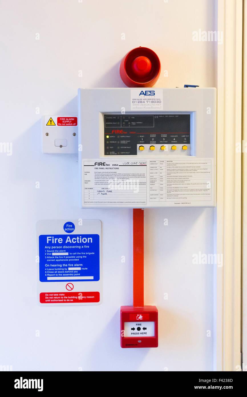 fire alarm system panel - Stock Image