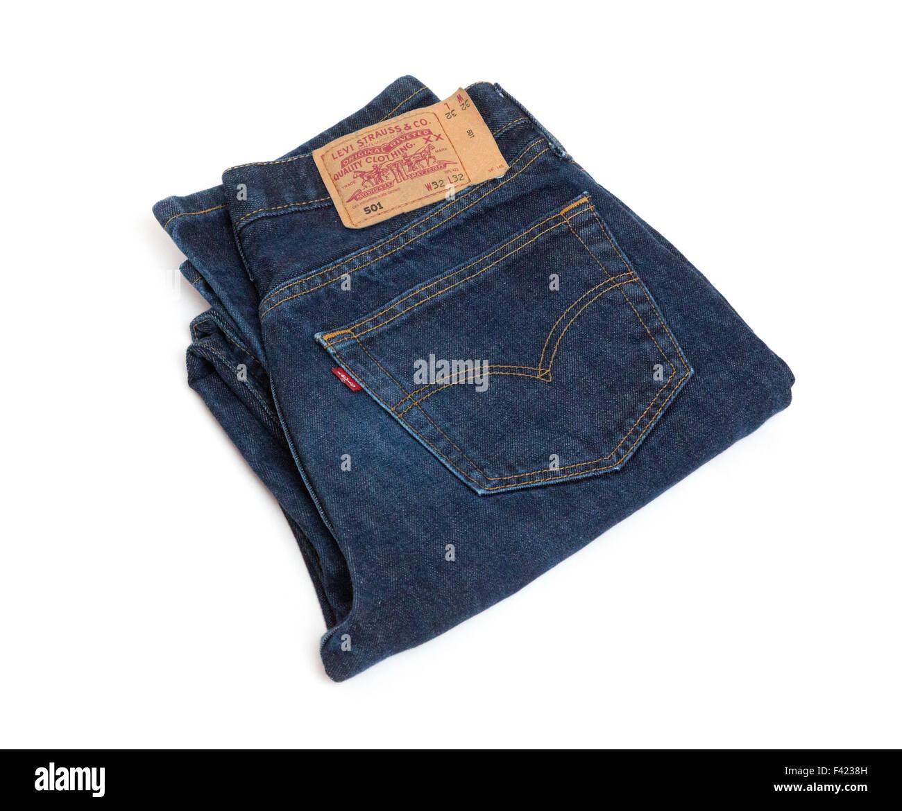 Levi 501 classic denim jeans - Stock Image