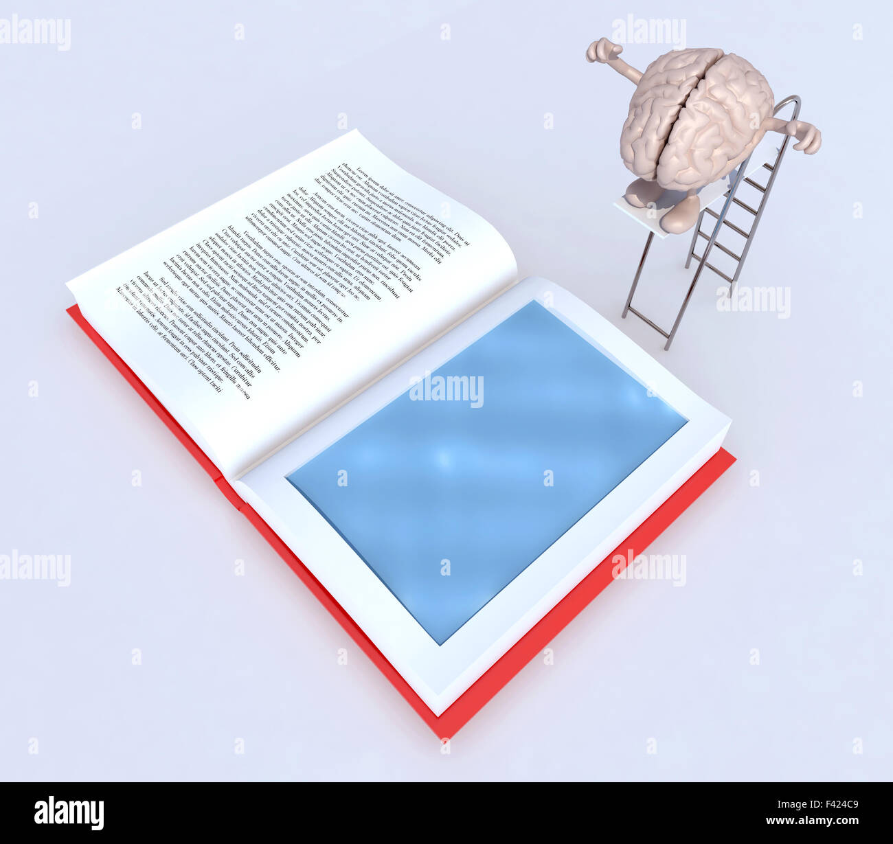 human brain with arms and legs on trampoline dip in the book, 3d illustration - Stock Image