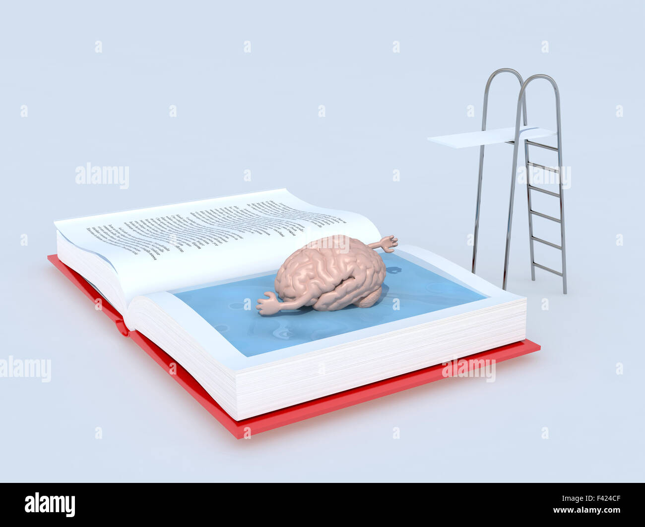 human brain that swims on the book, isolated 3d illustration - Stock Image