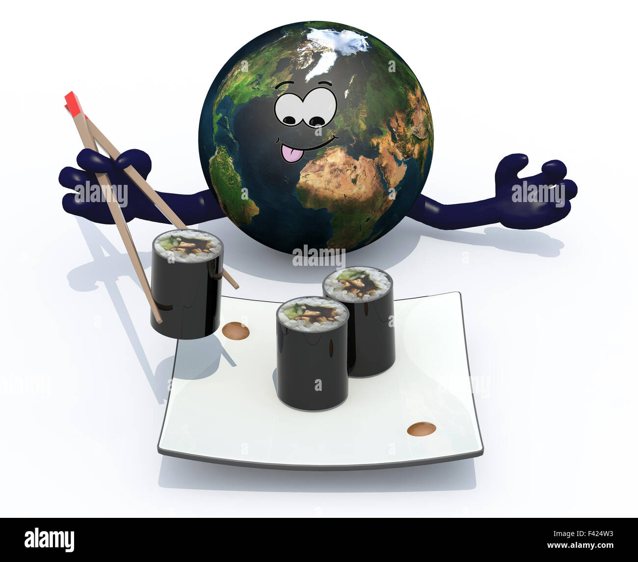 planet earth eating sushi with chopsticks, 3d illustration isolated on white background - Stock Image