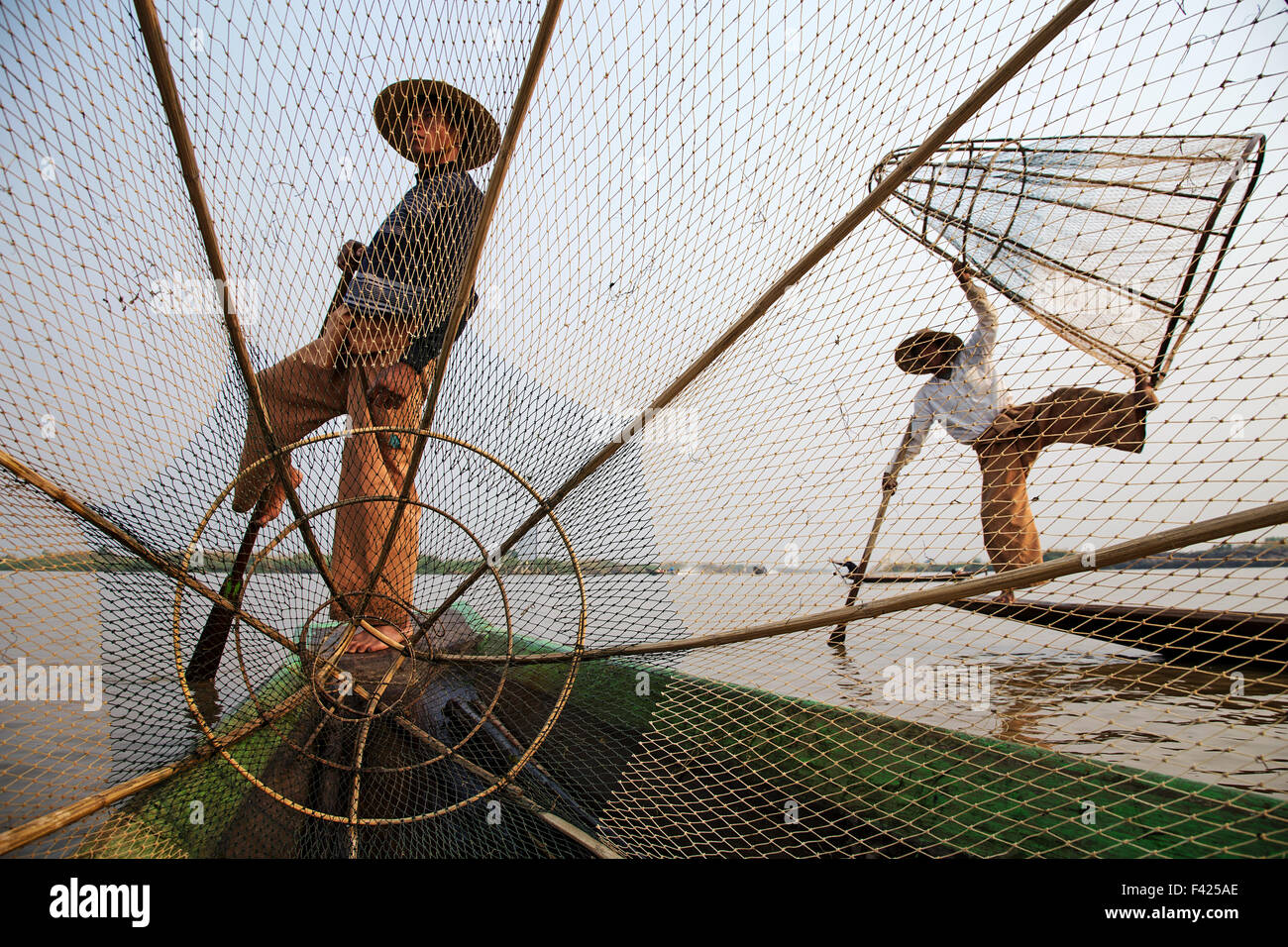 Fishermen on Inle Lake in Myanmar. - Stock Image