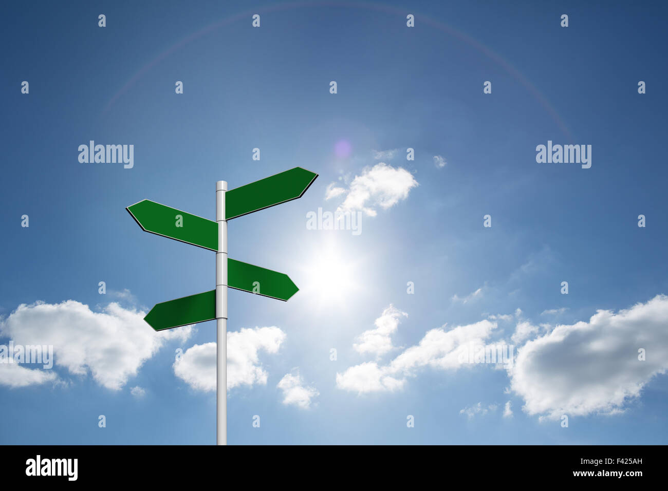 Composite image of green signpost - Stock Image