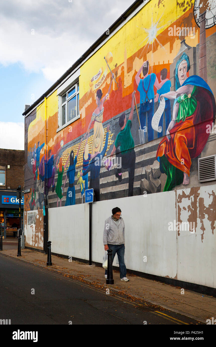 The Shops and streets and painted mural of Colne in Lancashire, UK - Stock Image