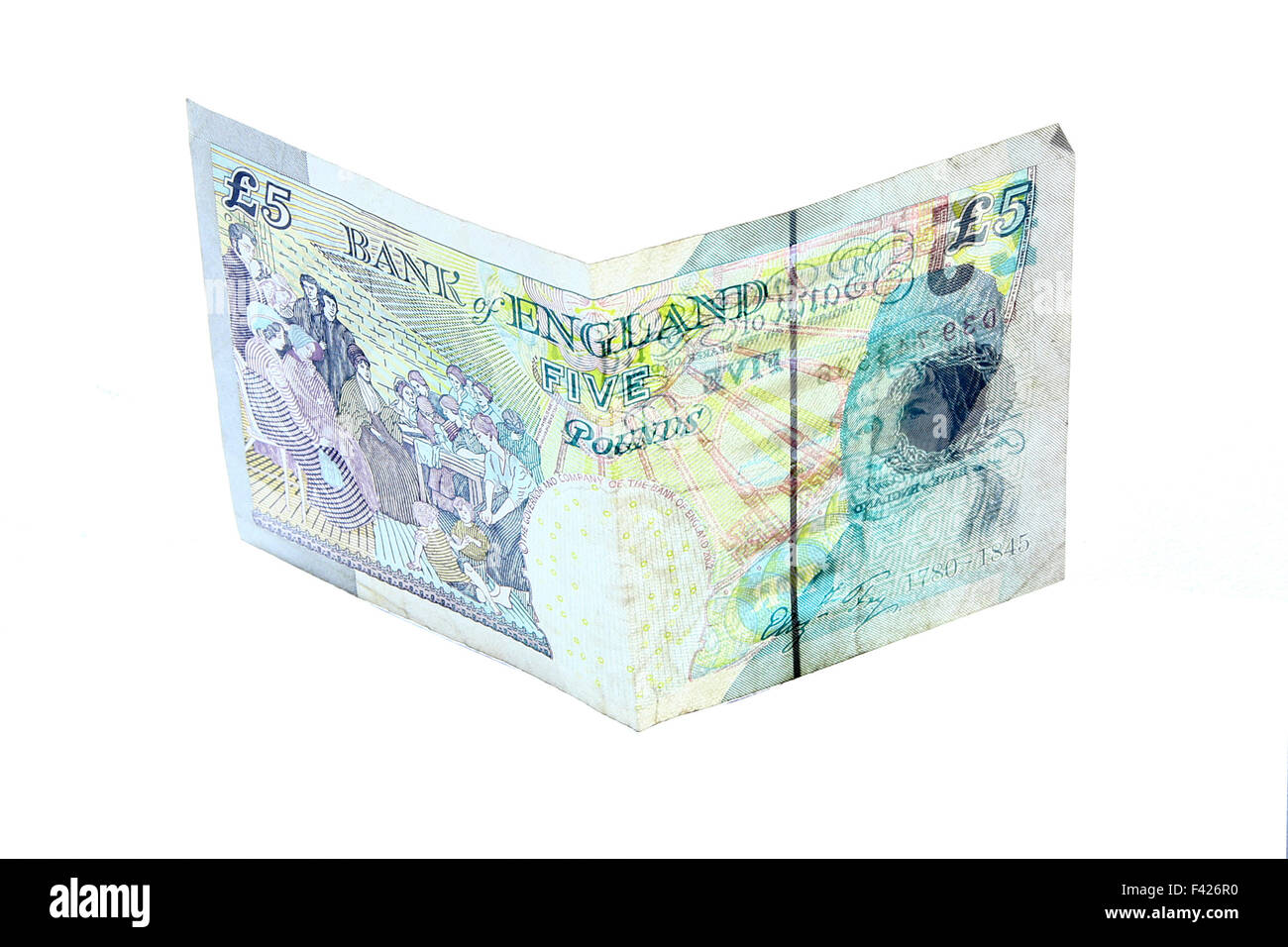 new five 5 pounds banknote greenback paper money isolated on white - Stock Image
