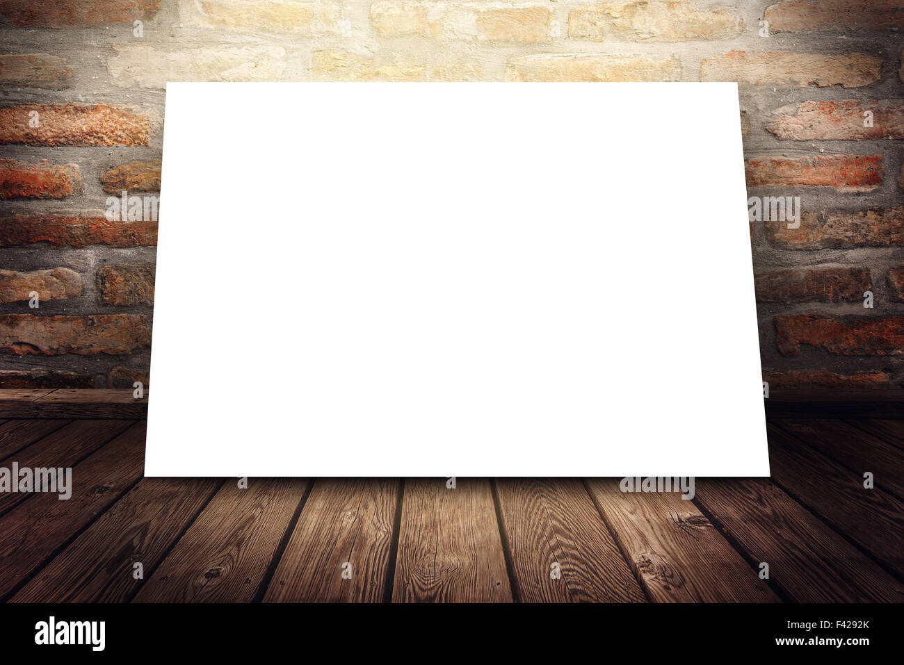Blank poster mock up as copy space under gallery spotlight, graphic design background - Stock Image