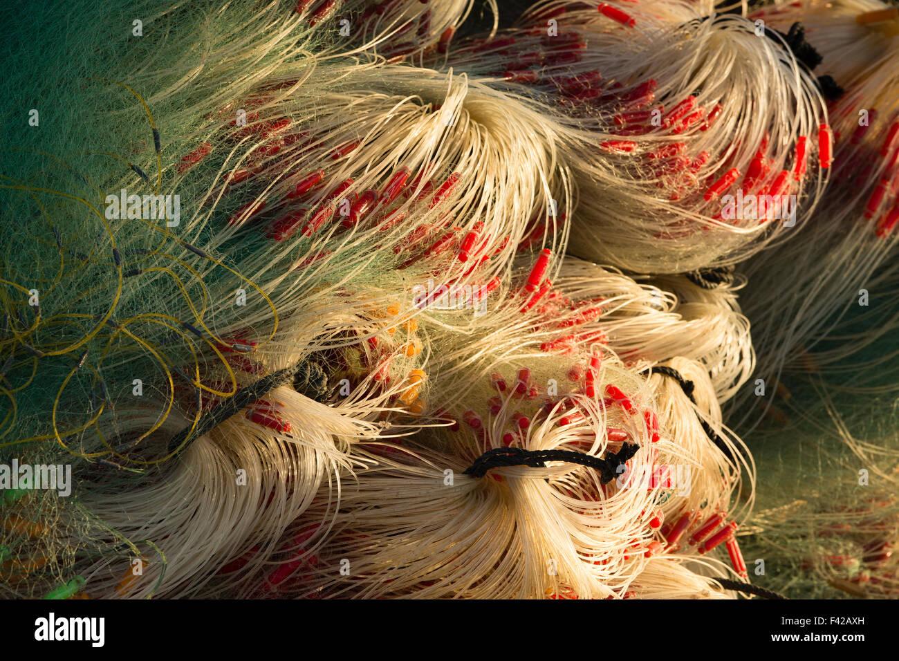 mending the nets, Mũi Né fishing village, Bình Thuận Province, Vietnam - Stock Image
