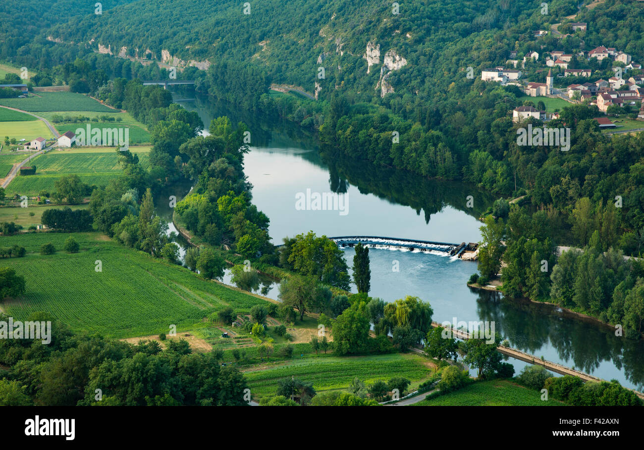 the River Lot at St Gery, Quercy, France - Stock Image