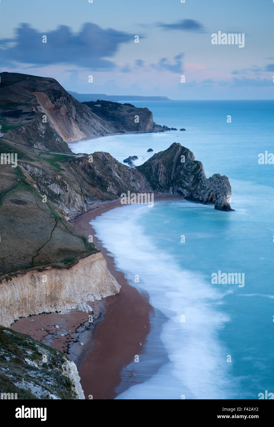Durdle Door and the Jurassic Coast from Bat's Head, Dorset, England, UK - Stock Image
