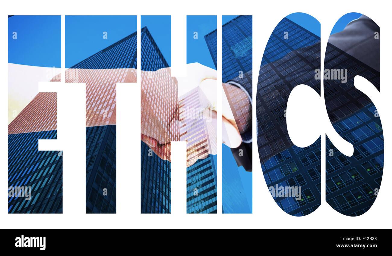 Ethics against skyscraper - Stock Image