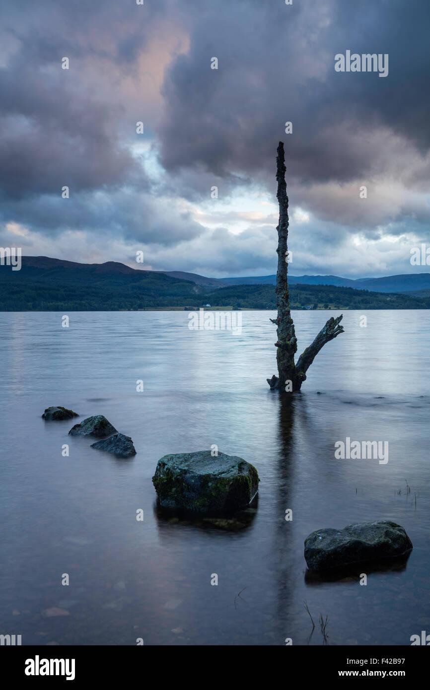 Loch Rannoch at dusk, Perth & Kinross, Scotland, UK - Stock Image