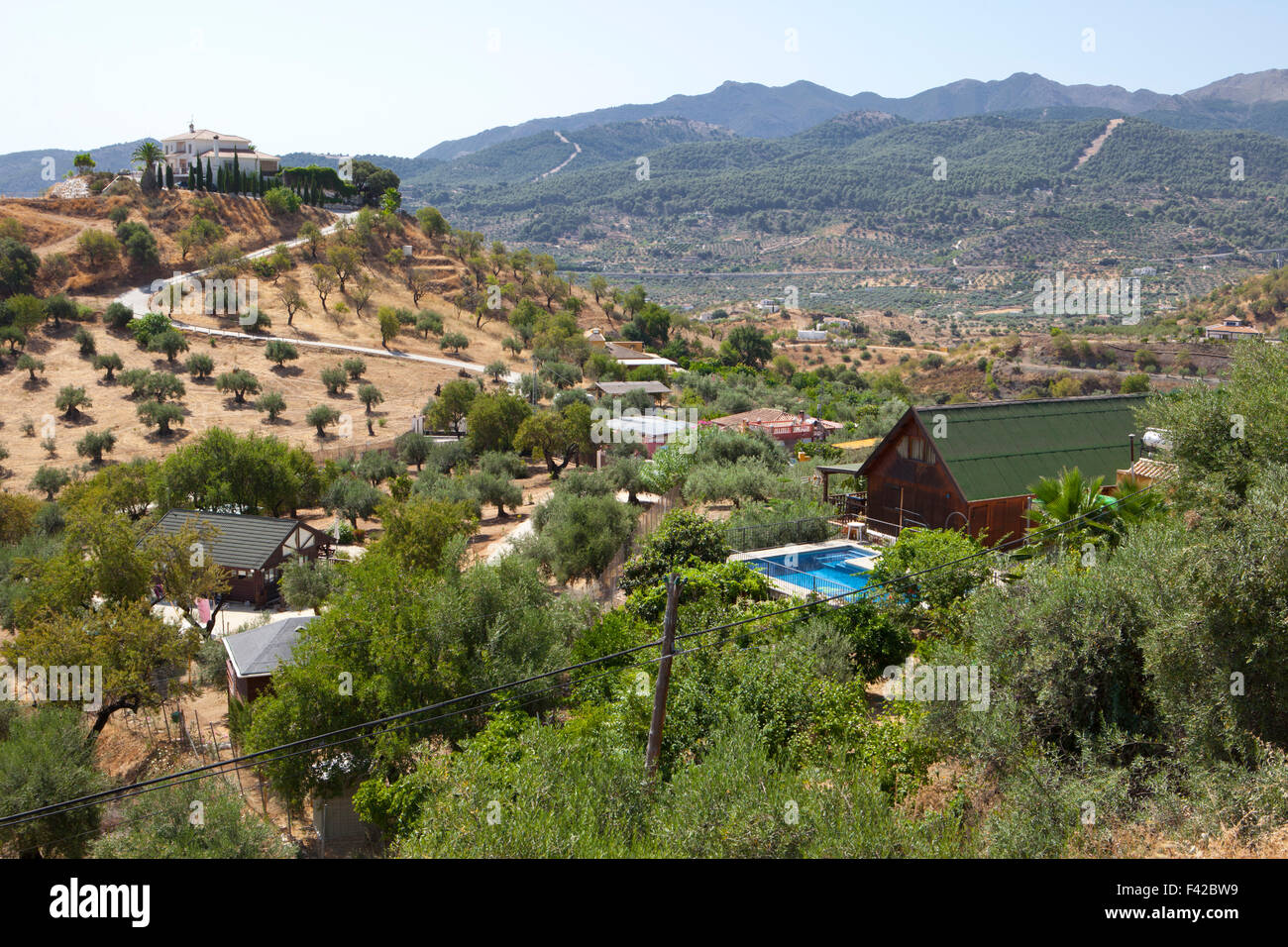 Country houses and countryside, Guaro, Malaga Province, Andalusia, Spain, Western Europe - Stock Image