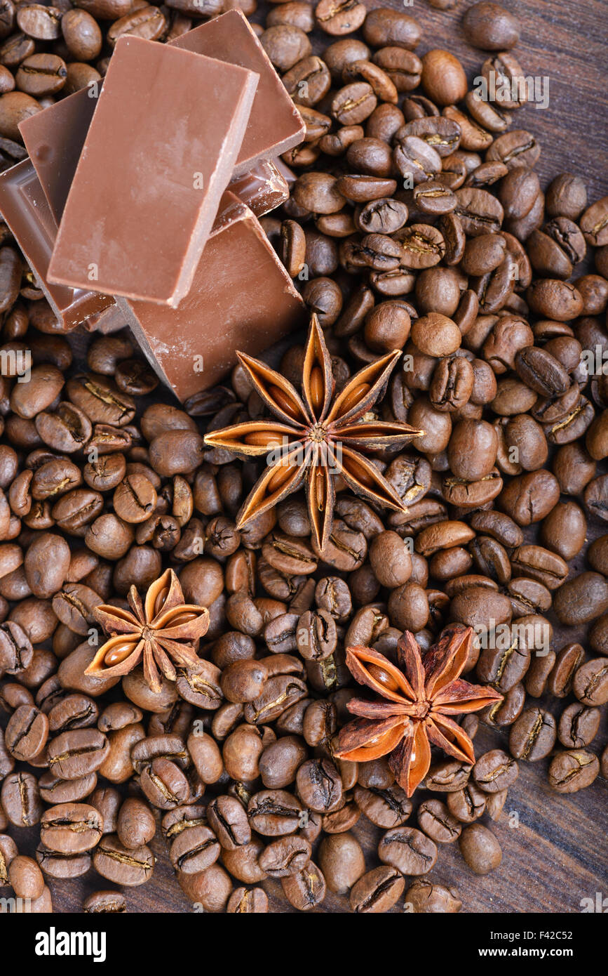 The chocolate, coffee beans and anise Stock Photo
