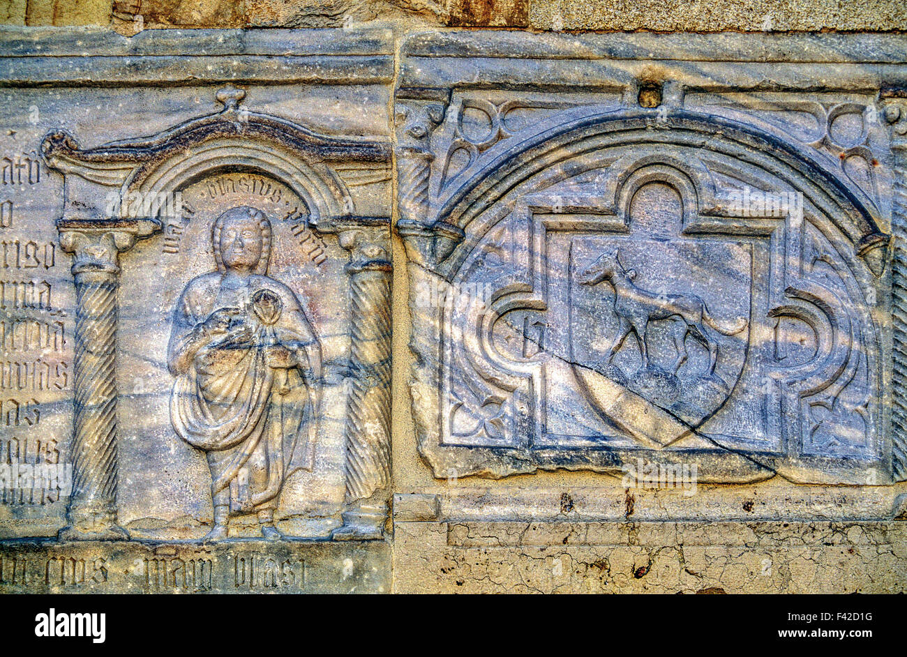 Emilia Romagna Cathedral Parma Detail of the Facade - Stock Image