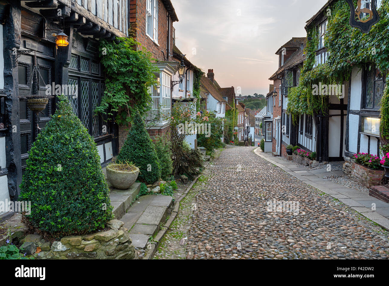 Beautiful half timbered houses on a cobbled street at Rye in east Sussex - Stock Image