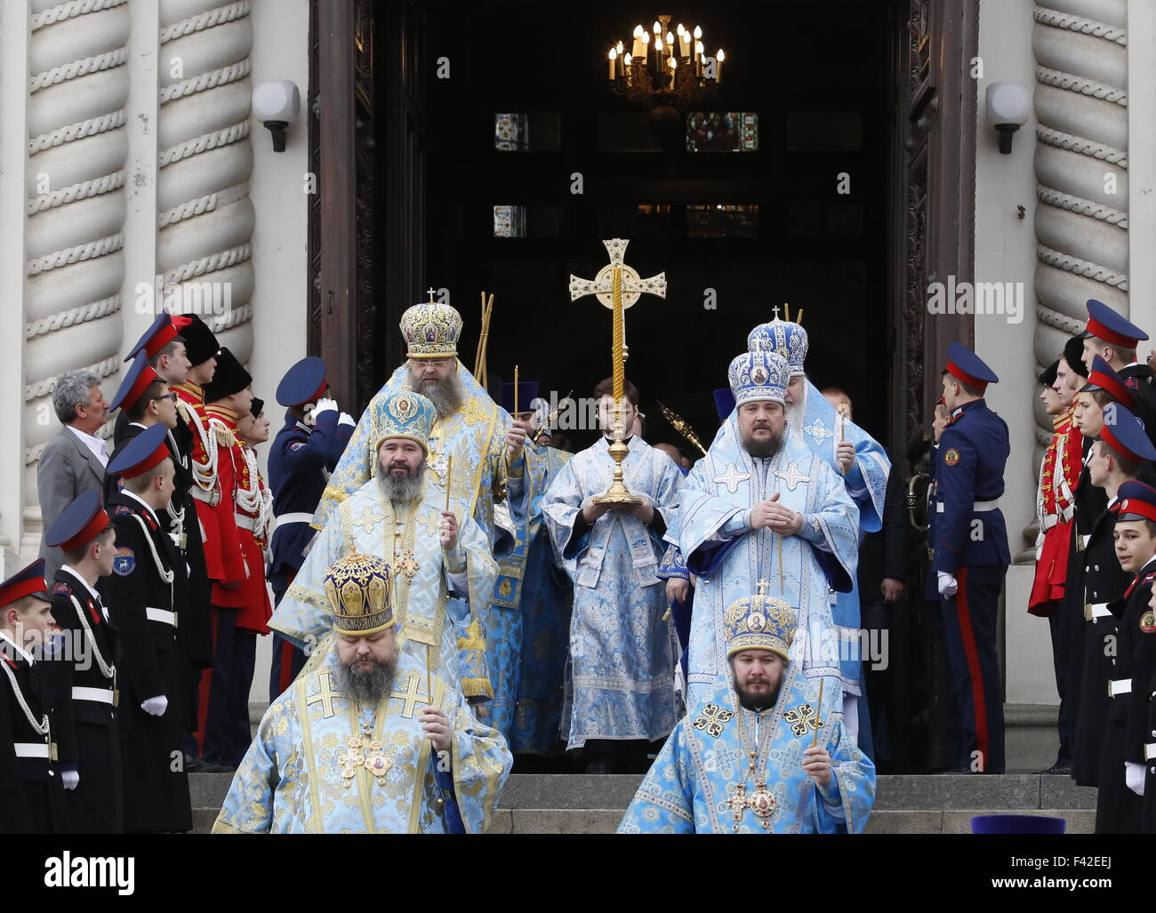 ROSTOV REGION, RUSSIA. OCTOBER 14, 2015. A religios procession outside the Ascension Cathedral in Novocherkassk. - Stock Image