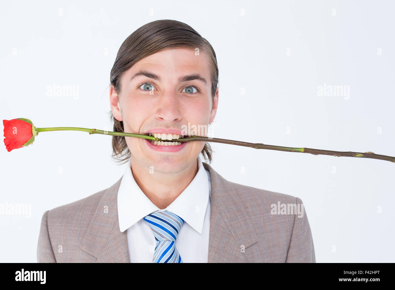 Geeky businessman offering bunch of roses - Stock Image