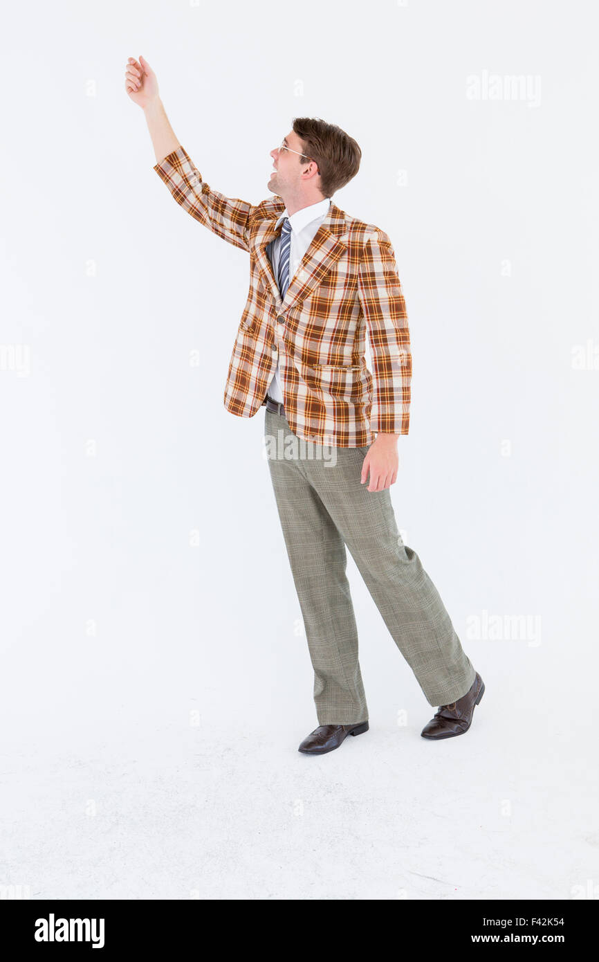 Geeky hipster with hand up - Stock Image