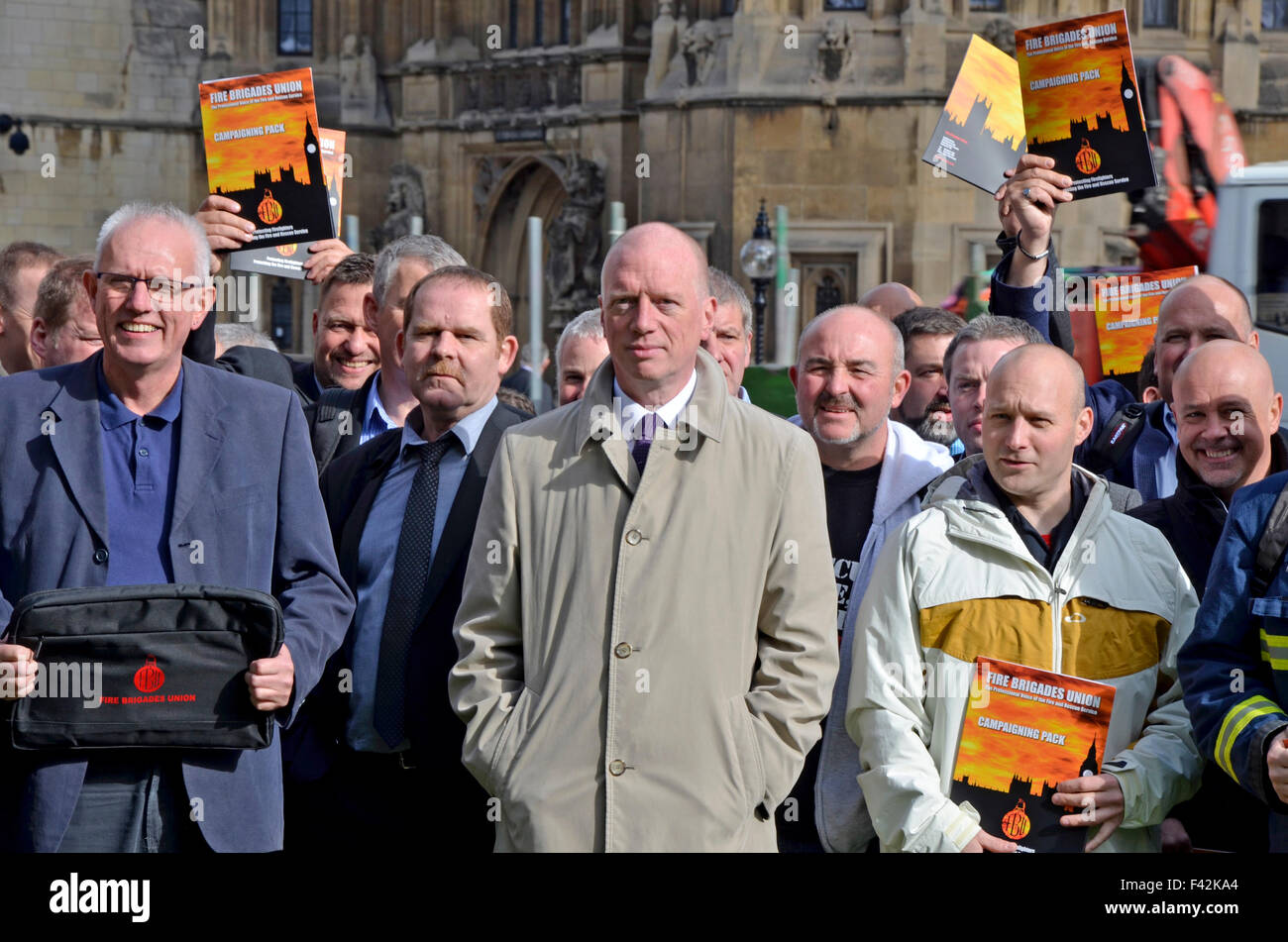 London, UK. 14th October, 2015. Matt Wrack and members of the Fire Brigade's Union prepare to lobby Parliament - Stock Image