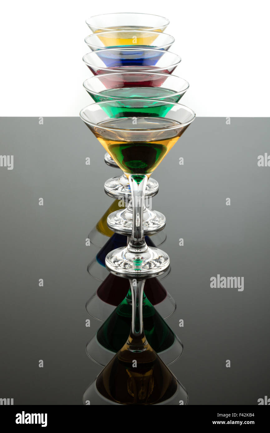 color cocktails in line - Stock Image