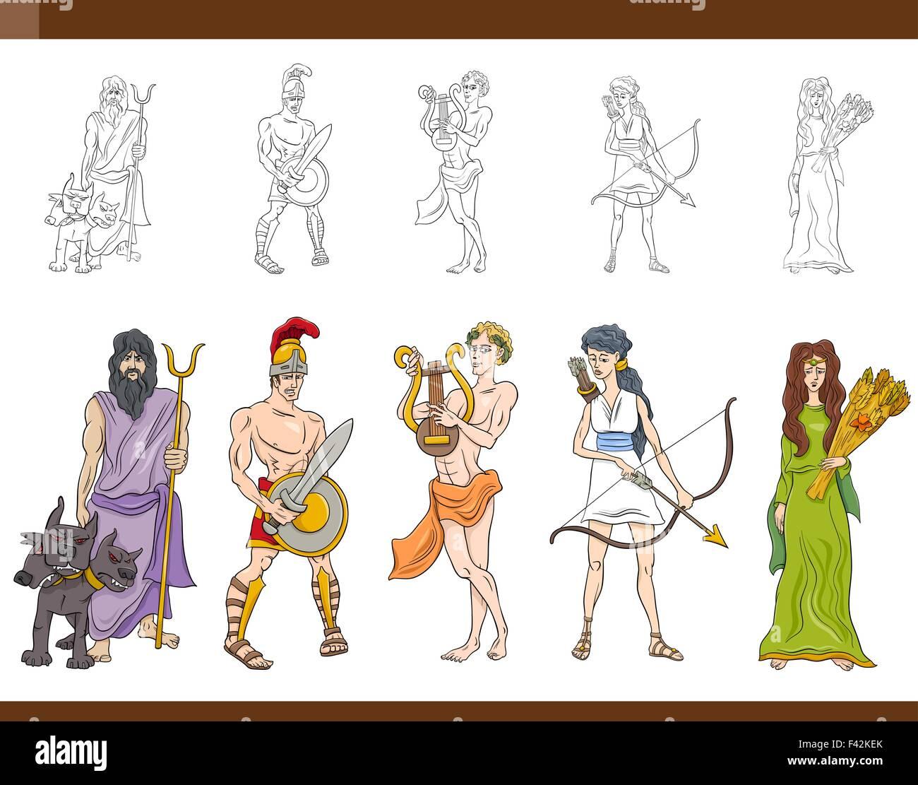 Cartoon Illustration Of Mythological Greek Gods And